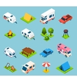 Camping And Travel Isometric Icons Set vector image