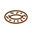 donut line icon sign for production of bread and vector image
