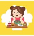 girl kids child cute happy eating food vector image