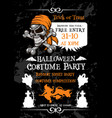Halloween holiday party poster with pirate skull vector image