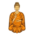 Happy Buddha sitting in Lotus pose teaching vector image
