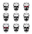 Happy skull emotion icons set vector image