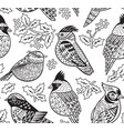 ink birds seamless pattern with and holly berries vector image