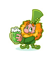 Shy Leprechaun in green costume with mug green vector image