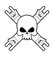 Skull with hands rock sign Logo for fans of hard vector image