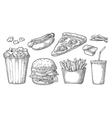 Set fast food Glass of cola hamburger pizza vector image vector image