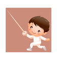 Boy in fencing costume vector image vector image