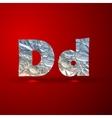 set of aluminum or silver foil letters Letter D vector image