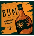 Rum bottle with swords on compass and anchor vector image