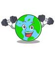 fitness world globe character cartoon vector image