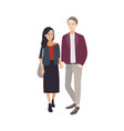 pair of young man and woman of different vector image