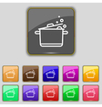 Pot Icon sign Set with eleven colored buttons for vector image