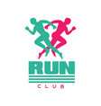 run club logo badge with abstract running men vector image