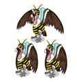set of three vultures in bee costume birds vector image