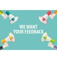 We Want Your Feedback Background Hand with vector image
