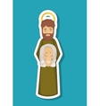 Joseph cartoon and baby jesus of holy night design vector image