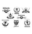 billiards poolroom sport tournament badges vector image