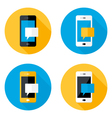 Mobile Message Circle Flat Icons Set vector image vector image