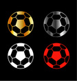 Footballs on black background vector image