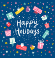 Happy holidays gift frame card vector image
