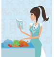 Beautiful lady cooking chicken vector image