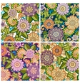Set of colored hand drawn patterns with flowers vector image