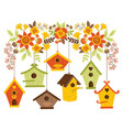 Autumn Flowers with Bird Houses vector image
