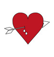 color silhouette image red heart pierced bleeding vector image