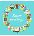 Flat Style Circle Template Collection of Easter vector image