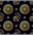 gold elephant seamless pattern vector image