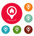 home map pointer icons circle set vector image