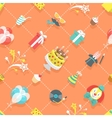Flat Birthday Party Celebration Icons Seamless vector image