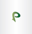 logotype p letter p logo icon green symbol vector image