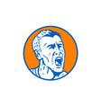 Angry Man Shouting Circle Retro vector image