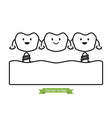 dental bridge - cartoon outline style vector image