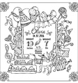 doodles birth card announcement template vector image