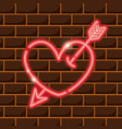 heart with arrow neon sign icon decoration vector image
