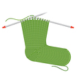 Knitted sock on the needles vector image