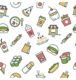 seamless pattern with fast food line icons vector image