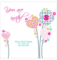 beautiful invitation with flowers and hearts vector image vector image