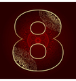 Vintage number 8 with floral swirls vector image