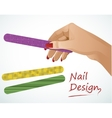 Woman hand holding a nail file vector image vector image