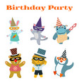 cute dancing animals on birthday masquerade party vector image