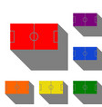soccer field set of red orange yellow green vector image