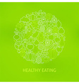 Thin Line Healthy Eating Icons Set Circle Concept vector image