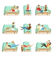 People Resting At Home Relaxing On Sofa Or vector image