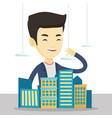 real estate agent presenting city model vector image vector image