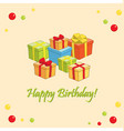 happy birthday - light card with gifts vector image