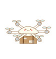 delivery drone cute flying robot shipping mail vector image