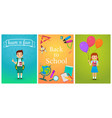 welcome back to school cute school pupils kids vector image